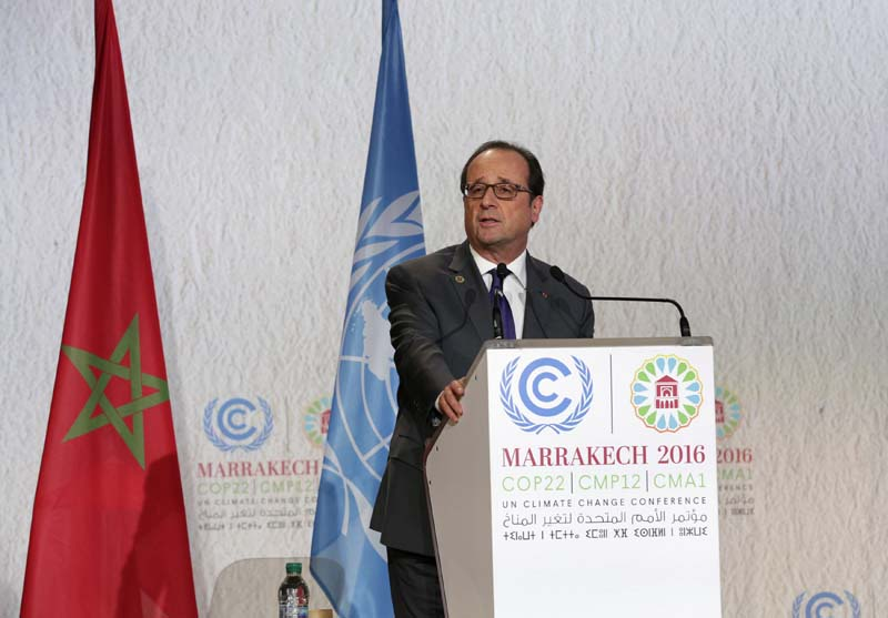 France's President Francois Hollande speaks during the UN World Climate Change Conference 2016 (COP22) in Marrakech, Morocco, on Tuesday, November 15, 2016. Photo: Reuters