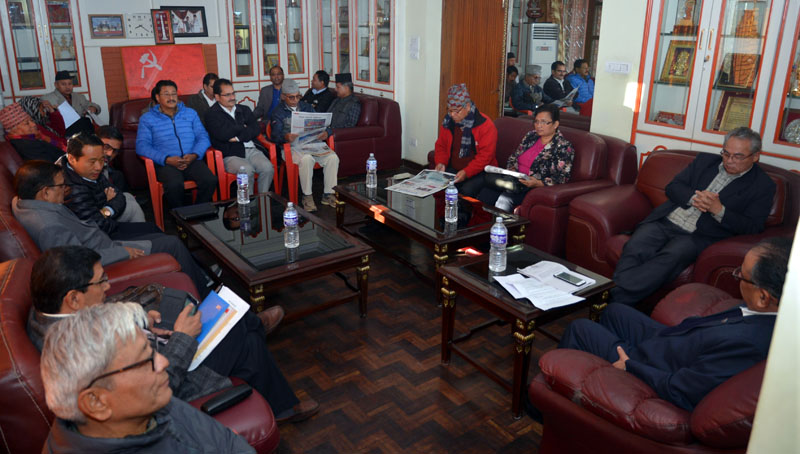 Leaders of CPN Maoist Centre attend the Central Office meeting of the party presided over by party Chairman and Prime Minister Pushpa Kamal Dahal in Kathmandu on Thursday, November 10, 2016. Photo: PM's Secretariat