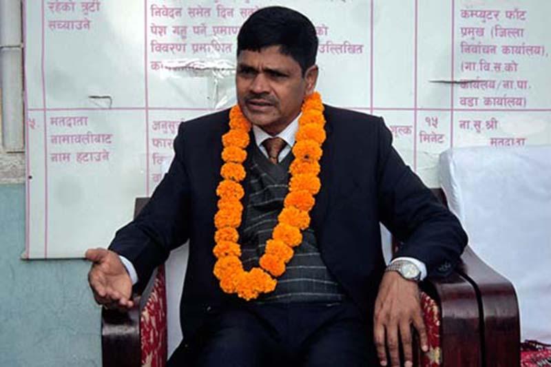 FILE: Chief Election Commissioner Ayodhi Prasad Yadav speaks at a press conference organised by Rajbiraj-based District Election Office in Saptari, on Sunday, November 27, 2016. Photo: Byas Shankar Upadhyaya/ THT