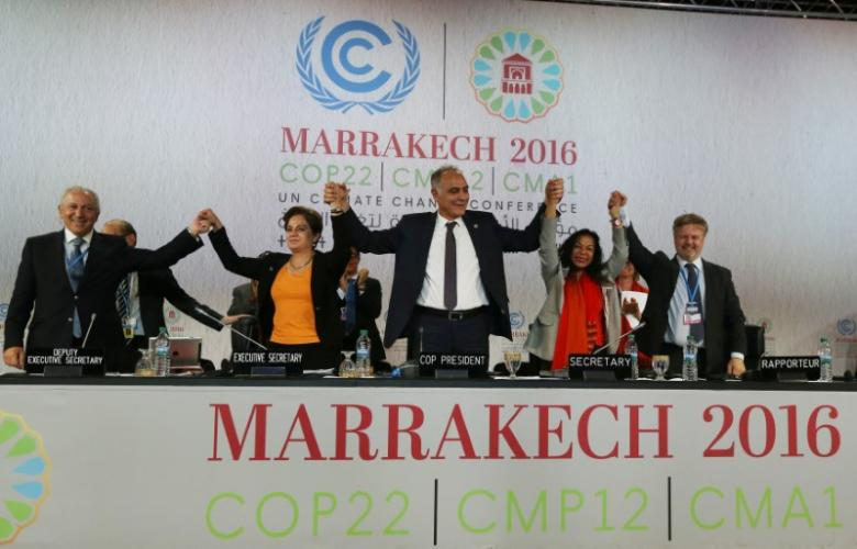 U.N. climate chief Patricia Espinosa (2nd from left), Morocco's Foreign Minister Salaheddine Mezouar (centre), and Council of Europe Goodwill Ambassador Bianca Jagger (2nd from right) celebrate after the proclamation of Marrakech, at the UN World Climate Change Conference 2016 (COP22) in Marrakech, Morocco, on November 17, 2016. Photo: Reuters