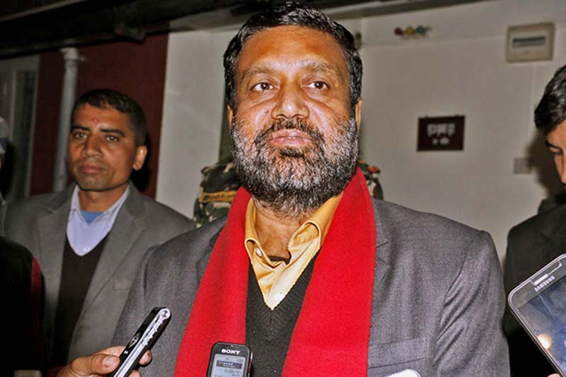 DPM and Minister for Home Affairs Bimalendra Nidhi interacts with the media after the meeting of four major parties, in Kathmandu, on Wednesday, November 30, 2016. Photo: RSS