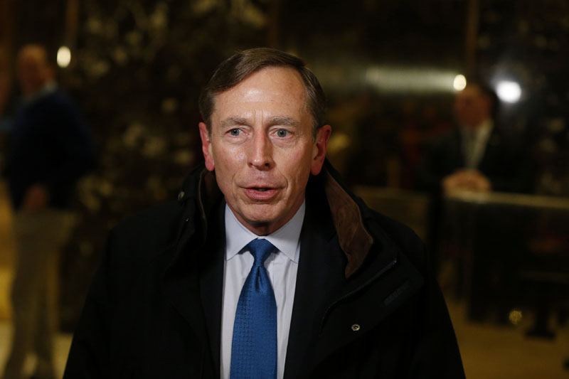 Former CIA director David Petraeus speaks to the media after a meeting with US President elect Donald Trump at Trump Tower New York, US, on November 28, 2016. Photo: Reuters