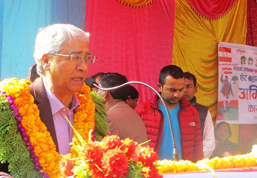 FILE: Nepali Congress President Sher Bahadur Deuba speaks at a function after his felicitation in Bhimdattanagar of Kanchanpur. Photo: RSS