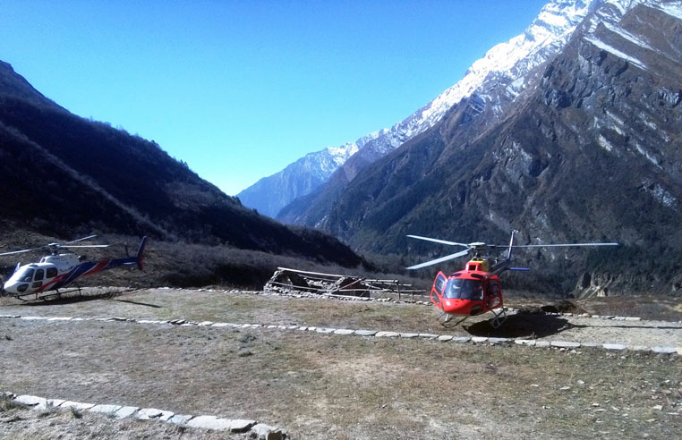 Helicopters are seen parked near the Dhaulagiri Base Camp at Mudi-9 in Dhaulagiri district on Saturday, November 19, 2016. Photo: RSS