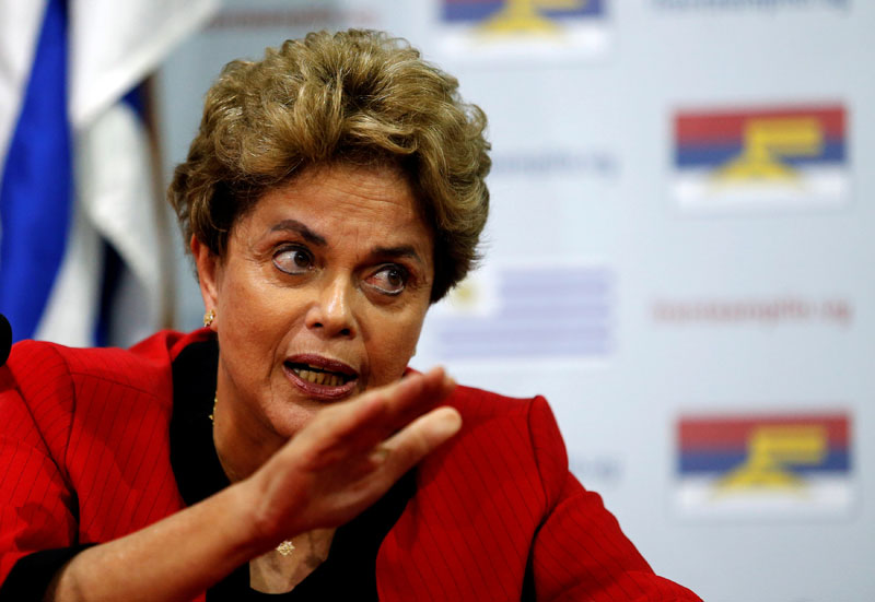 Former Brazilian President Dilma Rousseff speaks during a media conference at Uruguay's Frente Amplio party's headquarters in Montevideo, on  November 4, 2016. Photo: Reuters