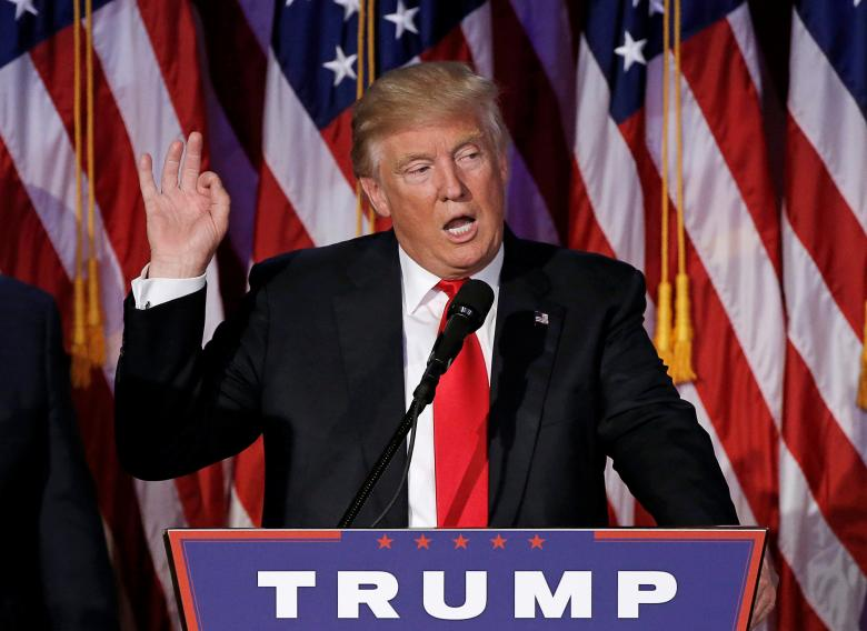 US President-elect Donald Trump speaks at election night rally in Manhattan, New York, US, November 9, 2016. Photo: Reuters