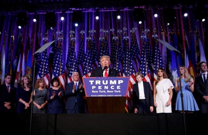 U.S. President-elect Donald Trump speaks at his election night rally in Manhattan, New York, U.S., November 9, 2016. REUTERS/Carlo Allegri