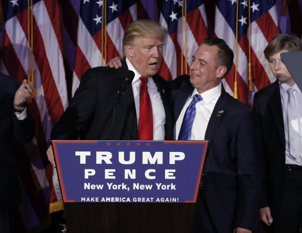 U.S. President-elect Donald Trump and Chairman of the Republican National Committee Reince Priebus address supporters during his election night rally in Manhattan, New York, U.S., November 9, 2016.  REUTERS/Mike Segar
