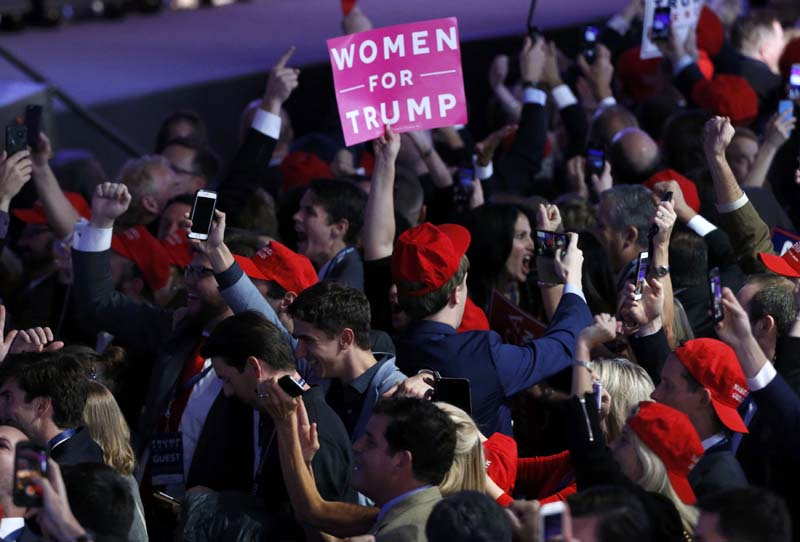 Trump supporters celebrate as election returs come in at Republican US presidential nominee Donald Trump's election night rally in Manhattan, New York, US, on Tuesday, November 8, 2016. Photo: Reuters
