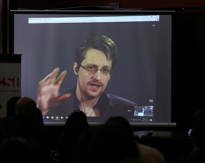 Edward Snowden speaks via video link during a conference at University of Buenos Aires Law School, Argentina, on November 14, 2016. Photo: Reuters