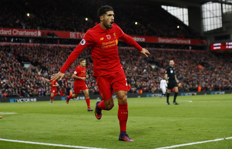 Liverpool's Emre Can celebrates scoring their third goal. Photo: Reuters