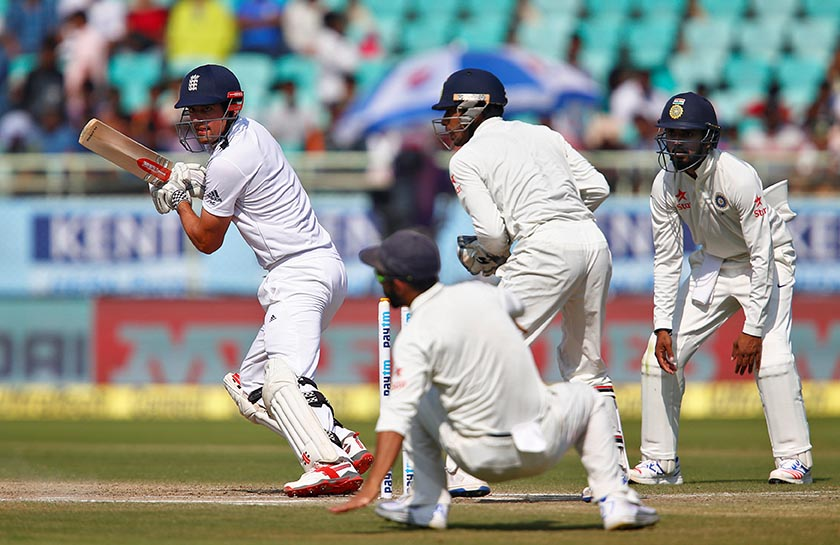 England's Alastair Cook plays a shot against India. Photo: Reuters