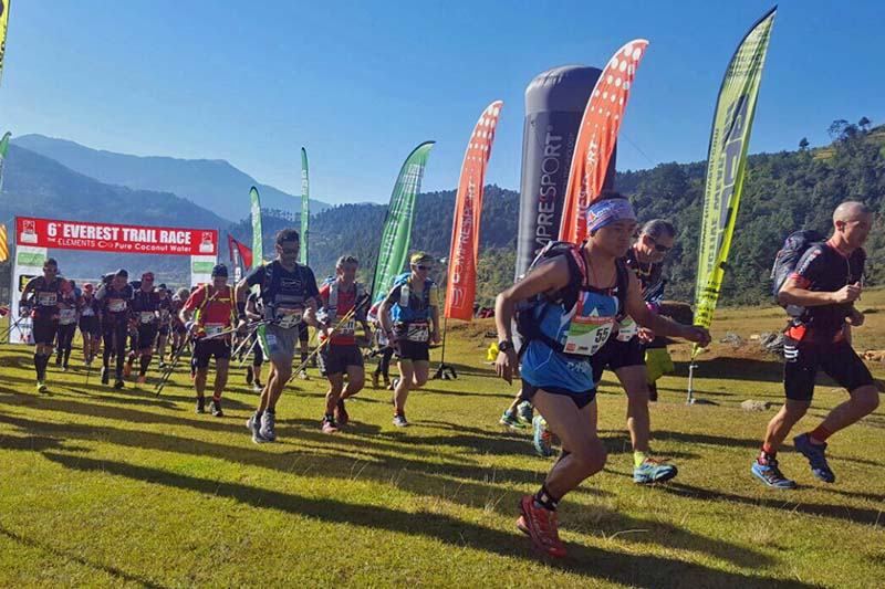 People take part in the sixth edition of the Everest Trail Race organised by the Annapurna Treks and Expedition Pvt Ltd, in Bamti Bhandar of Ramechhap district on Thursday, November 10, 2016. It is the worldu2019s toughest high-altitude trail race. Photo Courtesy: Kami Sherpa