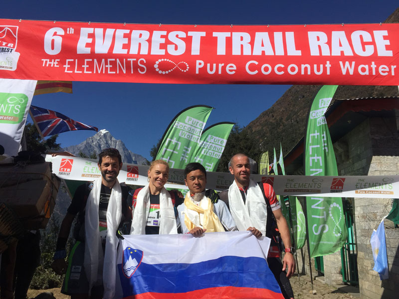 Winners of the Everest Trail Race pose for a photo in nLukla, Solukhumbu on Tuesday. THT