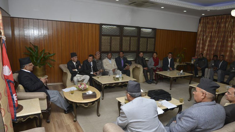 Leaders of 25 fringe political parties hold meeting with Prime Minister Prime Minister Pushpa Kamal at the latteru2019s residence in Baluwatar on Thursday, November 24, 2016. Photo: PM Secretariat