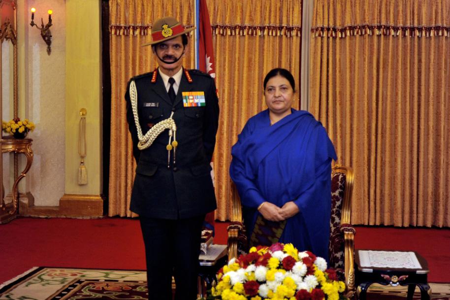 Indian Army Chief, General Dalbir Singh, pays a courtesy call on President Bidya Devi Bhandari, at the Sheeal Niwas, in Kathmandu, on Friday, November 11, 2016. Photo: The President's Office