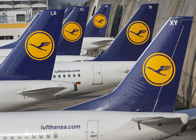 FILE - Lufthansa aircraft are parked as Lufthansa pilots went on a three-days-strike in Frankfurt, Germany, on April 2, 2014. Photo: AP
