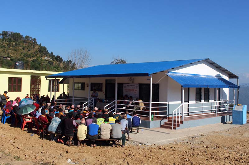 A reconstructed health post building in Ghairung of Gorkha district, as captured on Monday, November 14, 2016. Many public buildings were destroyed by the devastating earthquake on April 25, 2015. Photo: RSS