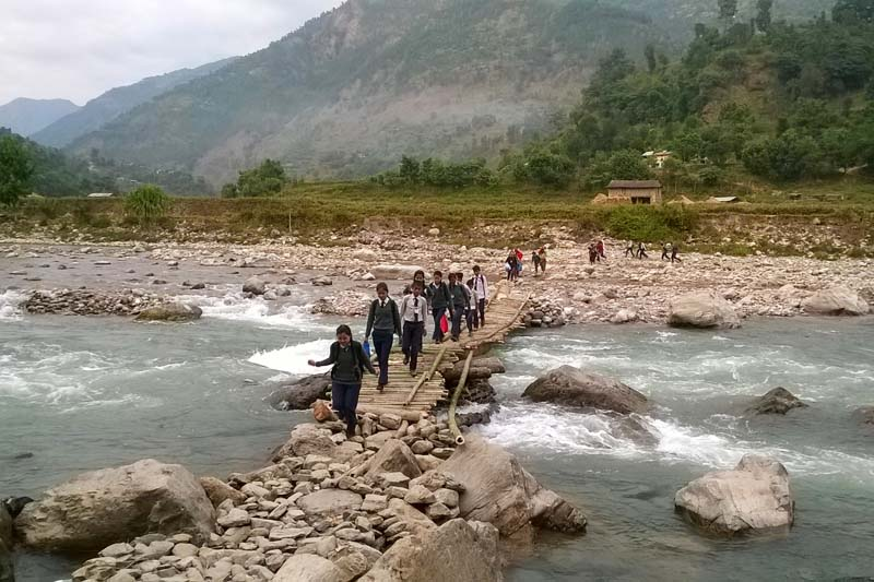 A makeshift crossing made over the Badhighat stream in Gulmi district, as captured on Wednesday, November 30, 2016. Photo: RSS