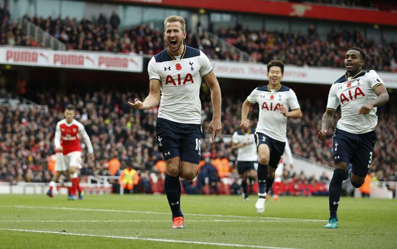 Tottenham's Harry Kane celebrates scoring their first goal from the penalty spot. Photo: Reuters