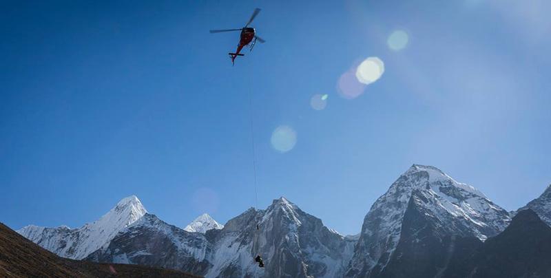 Long-line rescue of British mountaineer from Mt Amadablam. Photo: Capt Bibek Khadka