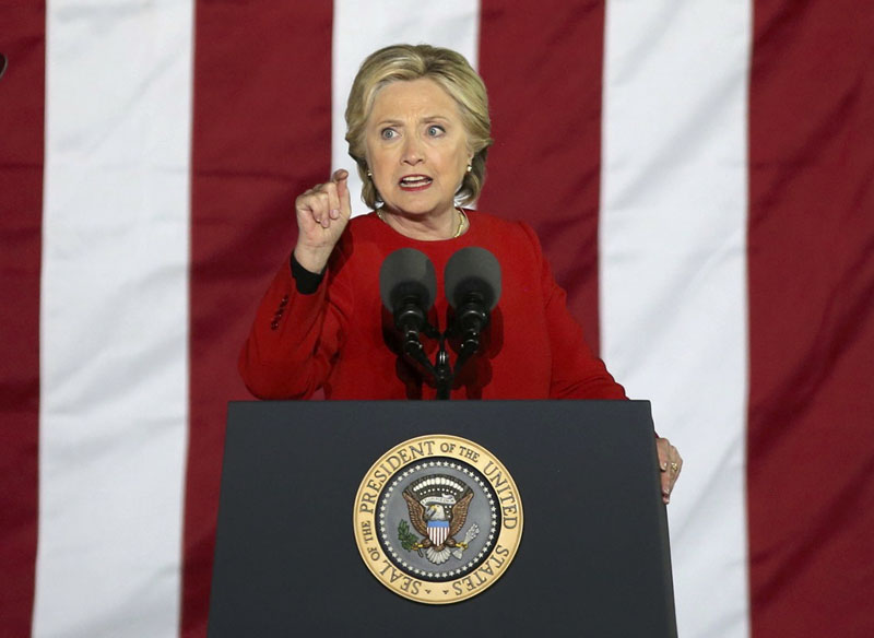 US Democratic presidential nominee Hillary Clinton speaks during a campaign event in Philadelphia, Pennsylvania, US, on November 7, 2016. Photo: Reuters