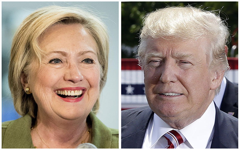 Democratic presidential candidate Hillary Clinton and Republican presidential candidate Donald Trump in 2016 photos. Photo: AP