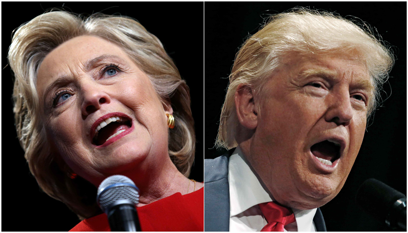 US presidential candidates Hillary Clinton and Donald Trump  (R) speak at campaign rallies in Westbury, New York, US, September 26, 2016 and Toledo, Ohio, US September 21, 2016 in a combination of file photos. Reuters