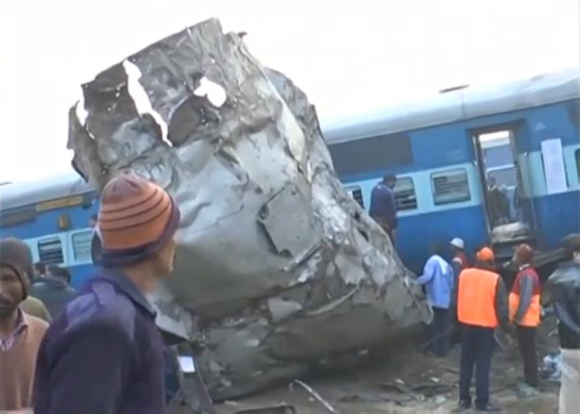 A view of a derailed train in Kanpur, in India's northern state of Uttar Pradesh, in this still image taken from video November 20, 2016. ANI/via REUTERS