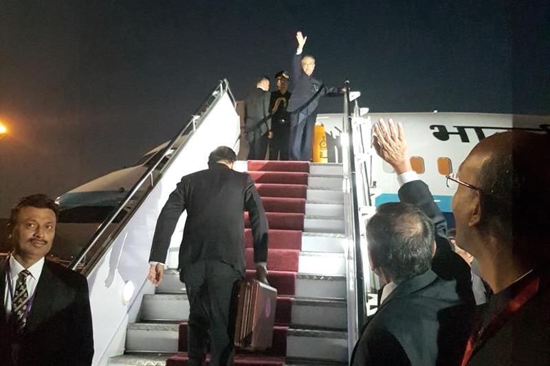 Indian president Pranab Mukherjee waves as he boards flight to Delhi, at the Tribhuvan International Airport, in Kathmandu, on Friday, November 4, 2016. Photo Courtesy: Indian Embassy in Kathmandu