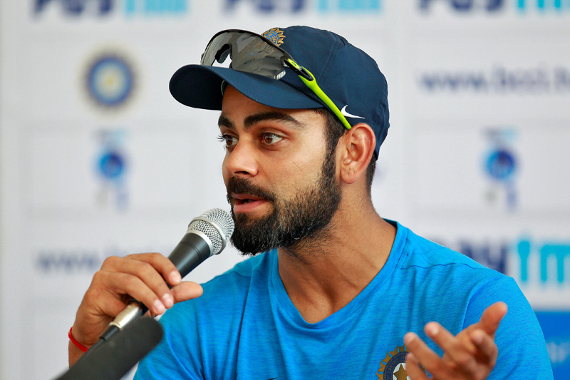 India's captain Virat Kohli attends a news conference ahead of their first test cricket match against England in Rajkot, India, November 8, 2016. Photo: Reuters
