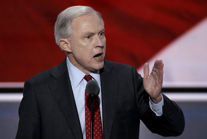 File - Senator Jeff Sessions delivers a nominating speech for Republican US Presidential candidate Donald Trump at the Republican National Convention in Cleveland, Ohio, US, on July 19, 2016. Photo: Reuters