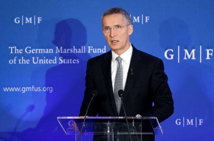 NATO Secretary-General Jens Stoltenberg delivers a speech on European defence and transatlantic security at the German Marshall Fund think-tank in Brussels, Belgium, on November 18, 2016. Photo: Reuters