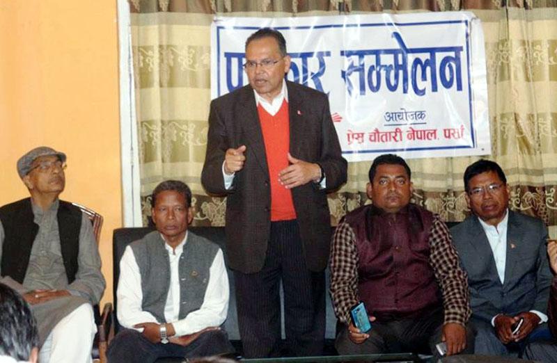 The CPN-UML senior leader and former Prime Minister Jhala Nath Khanal address a press meet organised by Press Chautari Nepal in Parsa district on Saturday, November 26, 2016. Photo:  Ram Sarraf