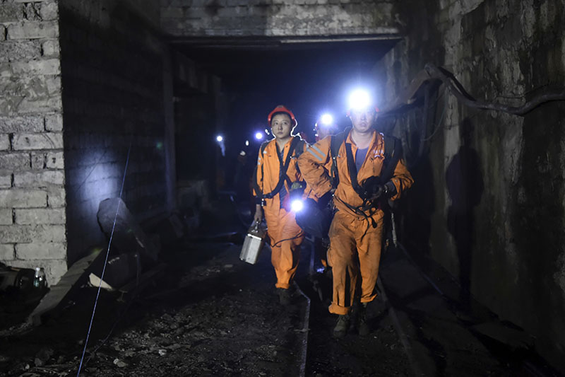 Rescuers work at Jinshangou Coal Mine in Chongqing, southwest China, on Monday, October 31, 2016. Rescuers worked through the night at the privately owned Jinshangou mine where the explosion occurred before noon Monday, Xinhua News Agency reported. Photo: Tang Yi/Xinhua via AP