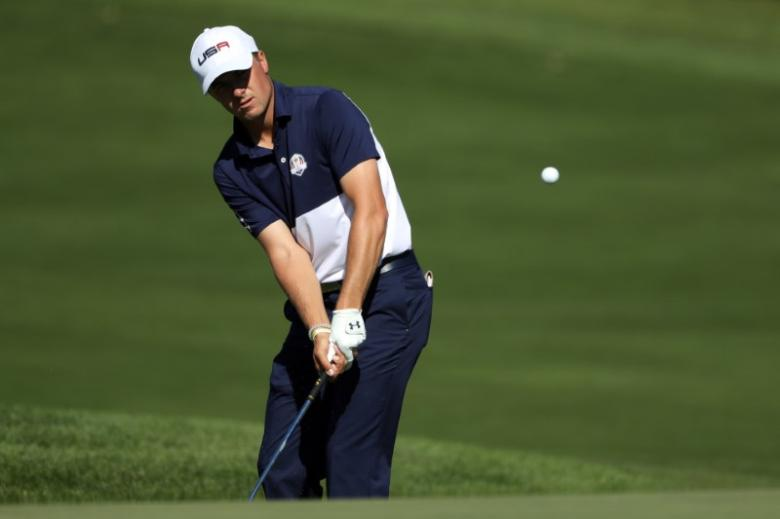 Jordan Spieth of the United States chips on the 11th hole during the single matches in 41st Ryder Cup at Hazeltine National Golf Club on October 2, 2016. Photo: Rob Schumacher-USA TODAY Sports/Files