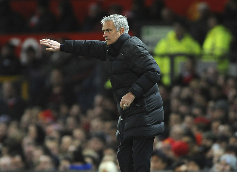 Manchester United manager Jose Mourinho gestures during the English Premier League football match between Manchester United and West Ham United at Old Trafford in Manchester, England, on Sunday, November 27, 2016. Photo: AP Photo/Rui Vieira