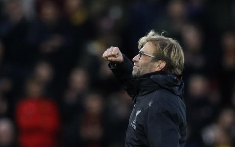Britain Football Soccer - Liverpool v Watford - Premier League - Anfield - 6/11/16 Liverpool manager Juergen Klopp celebrates at the end of the match  Reuters / Phil Noble/ Livepic