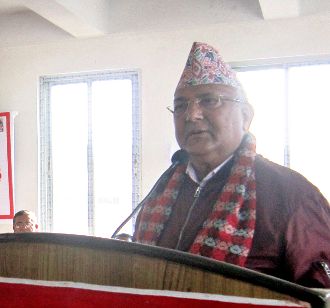 CPN-UML Chairman KP Sharma Oli speaking at a programme in Lalitpur, on Sunday, November 20, 2016. Photo: RSS