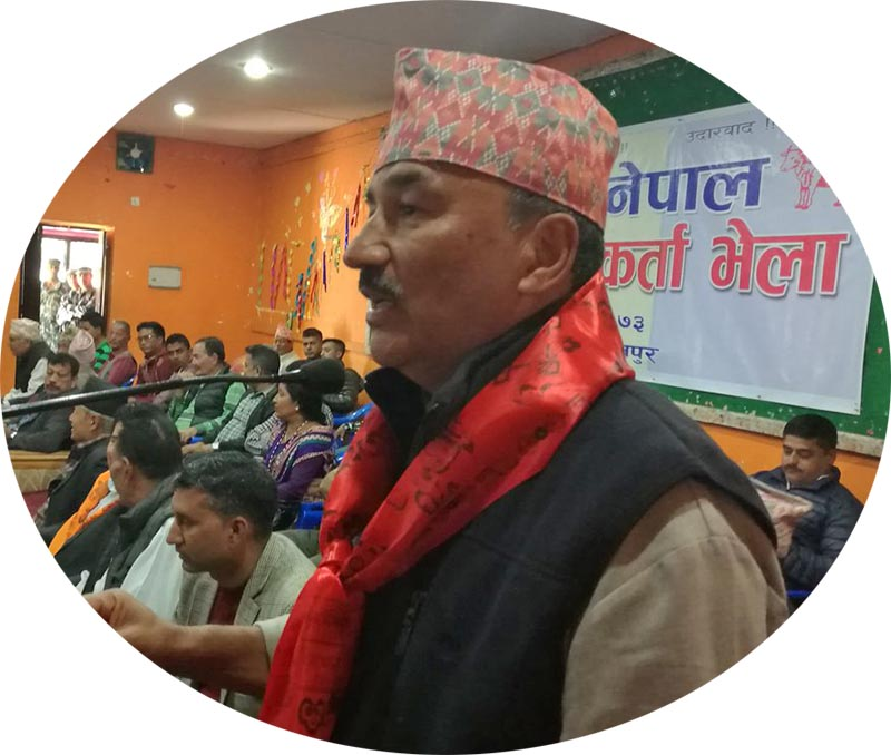 RPP-Nepal Chairman Kamal Thapa addressing the party cadres in Hetaunda of Makawanpur. Photo: Twitter/KTNepal