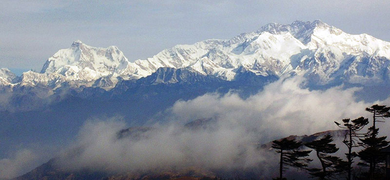 View of Kangchenjunga Himal from a tourist site in Sandakpur of Ilam district, on Saturday, November 19, 2016. The site has witnessed the increase in the numbers of visitors and tourists to view the sunrise. Photo: RSS