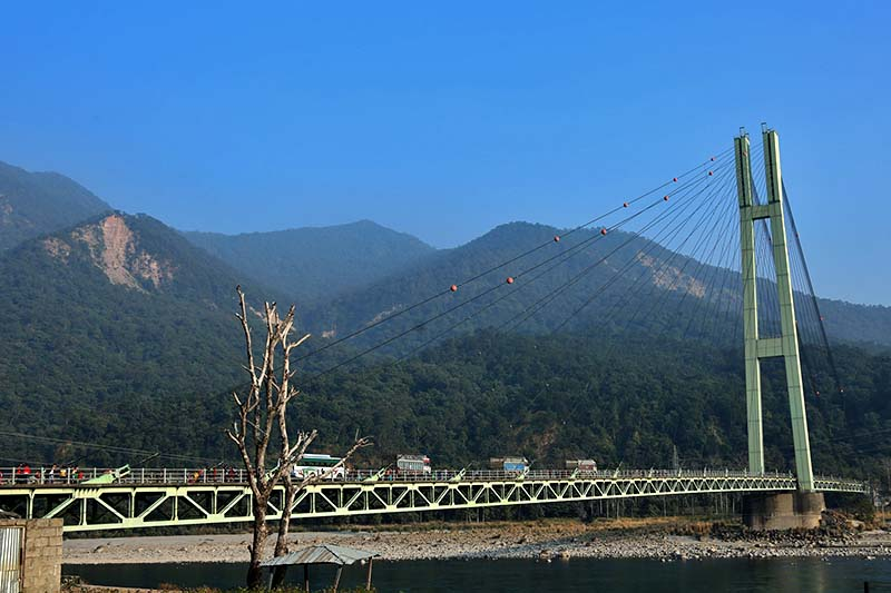 The Karnali Bridge as seen from Chisapani of Kailali district, on Sunday, November 27, 2016. Scores of tourists are seen on the bridge to enjoy the view. Photo: RSS