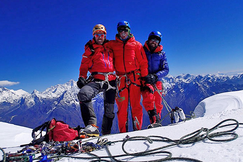 File photo of mountaineers Santi, Oriol and Roger pose for a photo after ascending to the Karyolung summit. Photo Courtesy: Santi Padros