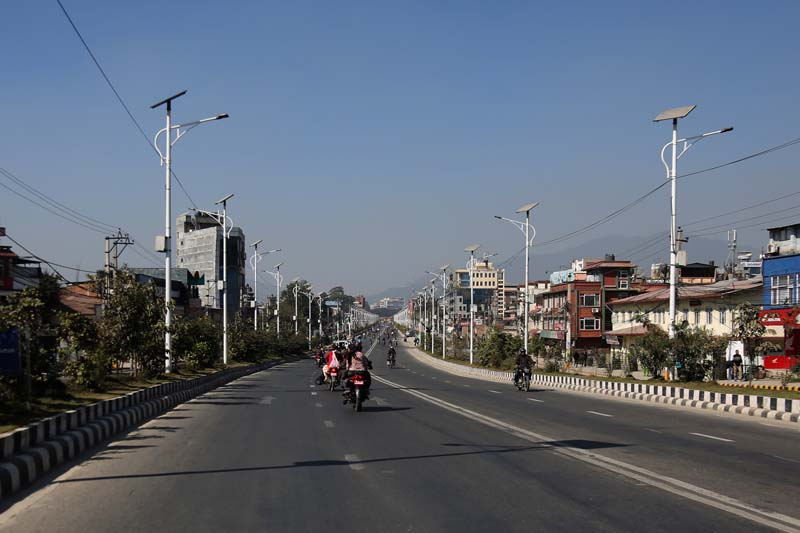 Few vehicles are seen plying on a road in Kathmandu Valley as the Netra Bikram Chand-led CPN Maoist imposed a Nepal bandh, on Sunday, November 13, 2016. Photo: RSS