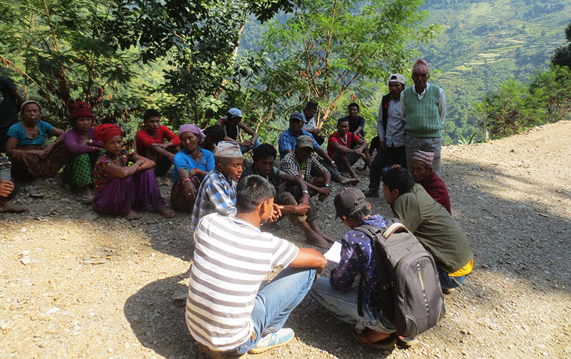 Locals, most of whom are from Chepang community, of remote Kolar of Chitwan district holding a meeting to discuss the impacts of a road construction and limestone quarry in this recent photograph. Photo: Keshav P. Koirala