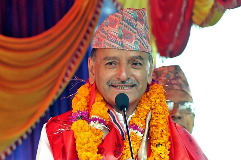 Nepali Congress leader Krishna Prasad Sitaula speaking on the occassion of the 102nd birth anniversary of Ganeshman Singh, in Kathmandu, on Wednesday, November 9, 2016. Photo: RSS