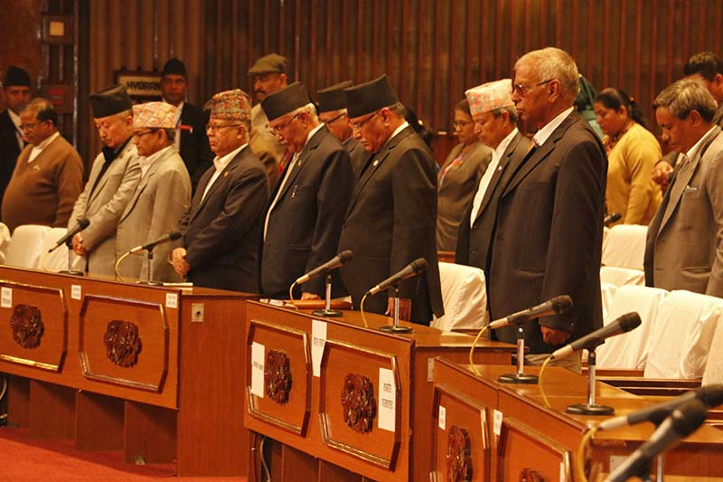 Lawmakers observe a one-minute silence as a tribute to the late CPN Maoist Centre lawmaker Bhakti Prasad Pandey, in Kathmandu, on Wednesday, November 16, 2016. Photo: RSS