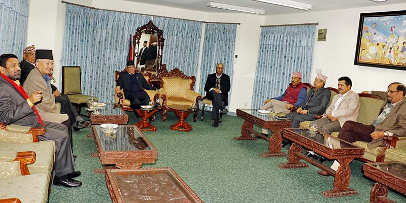 Leaders of the major four parties in a meeting to discuss the local elections at the Speaker's Office, in Kathmandu, on Wednesday, November 30, 2016. Photo: RSS