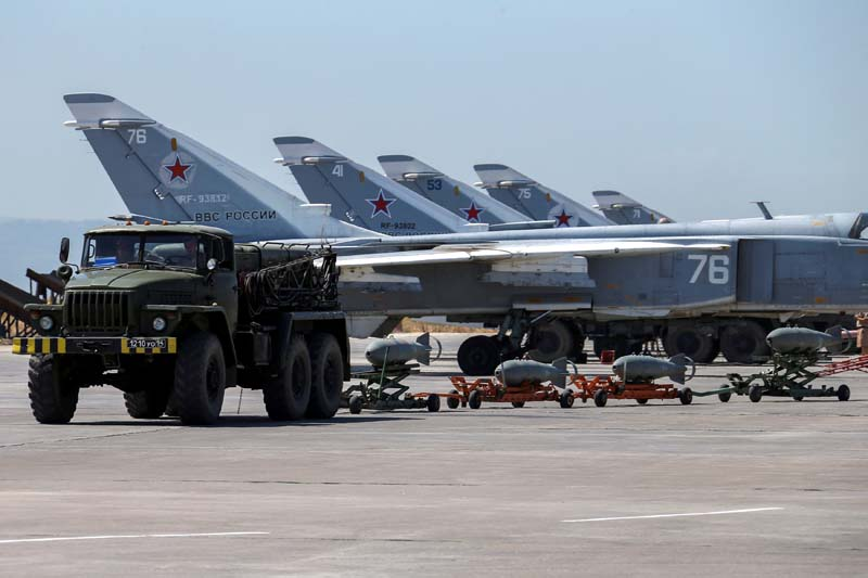 File- Russian military jets are seen at Hmeymim air base in Syria, on June 18, 2016. Photo: Reuters