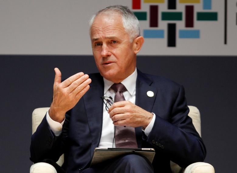 Australian Prime Minister Malcolm Turnbull addresses the audience during a meeting at the 2016 APEC (Asian Pacific Economic Cooperation) CEO summit in Lima, Peru November 18, 2016.    REUTERS/Paco Chuquiure